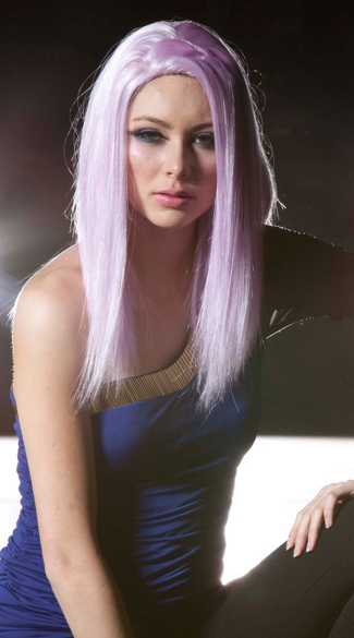Light Purple Medium Length Straight Wig, Blush Zen Lilac Wig, Light Purple Straight Wig
