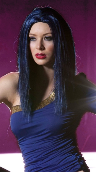 Midnight Blue Medium Length Straight Wig, Blush Zen Midnite Blue Wig, Dark Blue Straight Wig