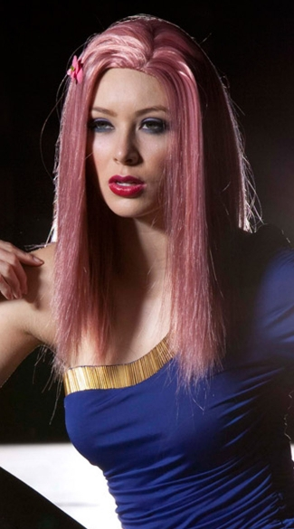 Light Pink Medium Length Straight Wig, Blush Zen Pink Venom Wig, Pink Straight Wig