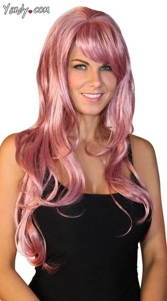 Deluxe Long Rose Pink Wig