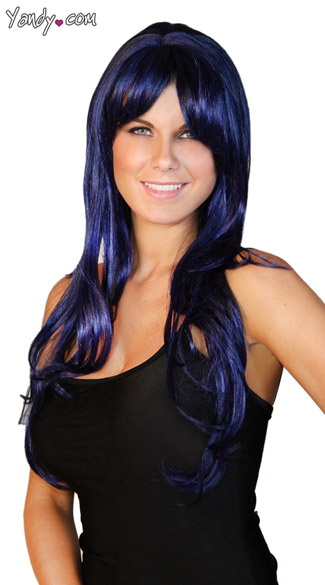 Deluxe Long Midnight Blue Wig, Navy Blue Wig, Long Layered Wig, Blue Layered Wig