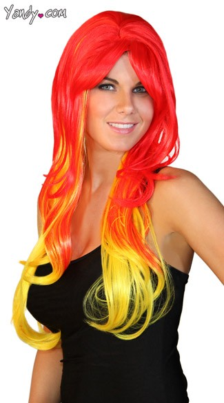 Deluxe Long Red and Yellow Wig