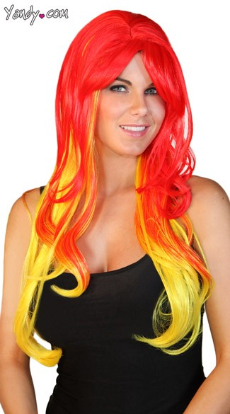 Deluxe Long Red and Yellow Wig, Devil Costume Wig, Girl on Fire Wig, Orange Yellow Red Wig