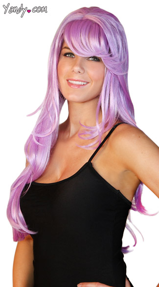 Deluxe Long Violet Wig, Long Purple Wig, Light Purple Costume Wig, Purple Layered Wig