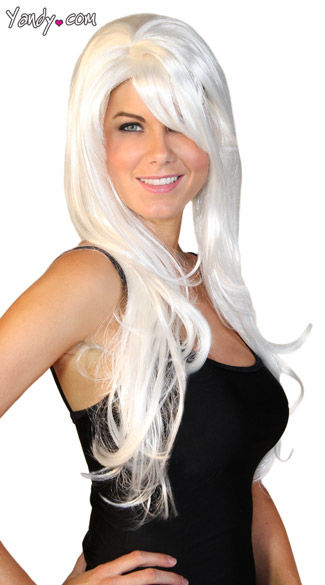 Deluxe Long White Wig, Layered White Wig, Long Wig with Bangs