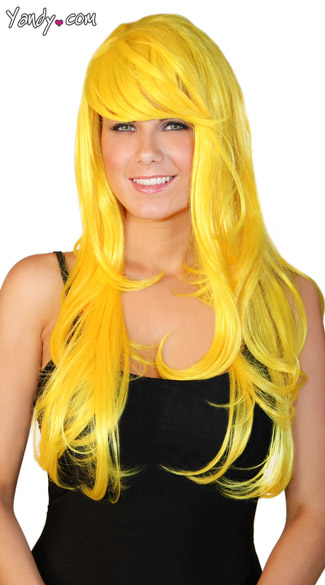 Deluxe Long Yellow Wig, Deluxe Yellow Wig, Layered Yellow Wig, Bright Yellow Costume Wig