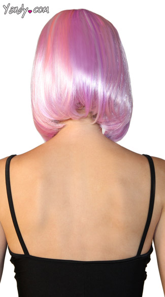 Deluxe Bobbed Pink and Purple Wig