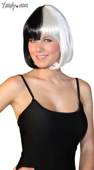 Bobbed Black and White Wig, Black and White Mod Wig, White and Black Costume Wig