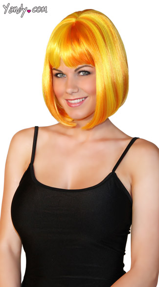 Bobbed Sunshine Wig, Orange and Yellow Wig, Orange and Yellow Bobbed Wig