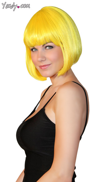 Deluxe Sunshine Yellow Bobbed Wig