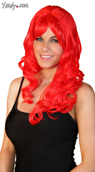 Deluxe Long Red Curly Wig