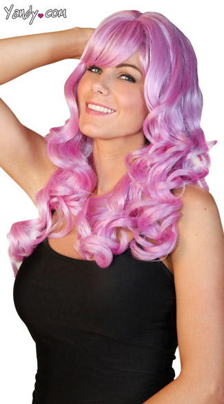 Deluxe Long Curly Violet Wig