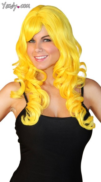 Long Yellow Curled Wig, Womens Yellow Wig, Curly Yellow Wig