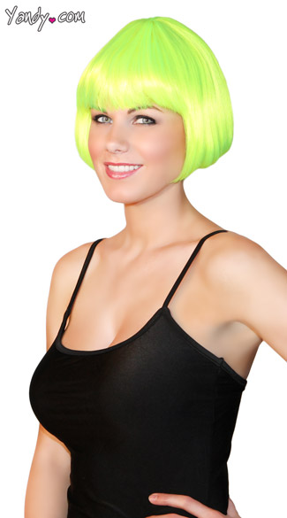 Neon Green Mini Bob, Short Neon Green Wig, Neon Wig, Short Costume Wig