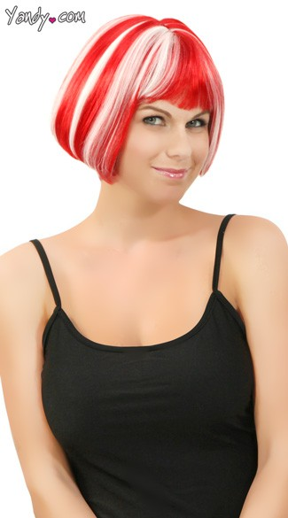 Red Glow In The Dark Mini Bobbed Wig