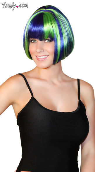Deluxe Seashell Blue Mini Bob Wig