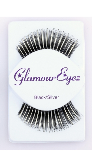 Long Black and Silver False Eyelashes