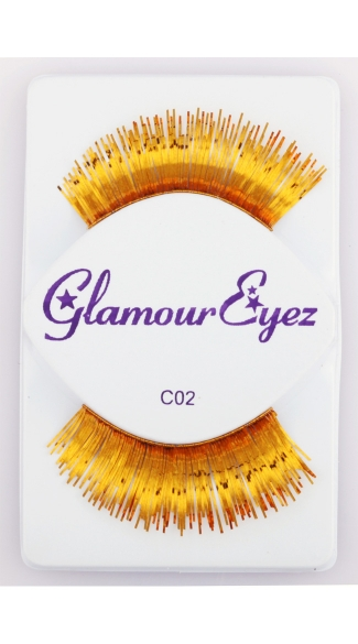 Long Gold Eyelashes, Colored Eyelashes, Gold False Eyelashes