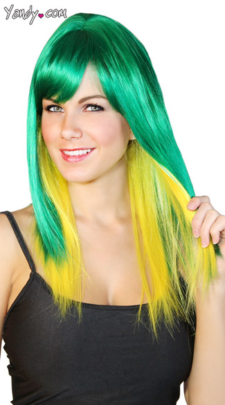 Emerald and Yellow Two Toned Wig, Green and Yellow Wig, Straight Yellow and Green Wig