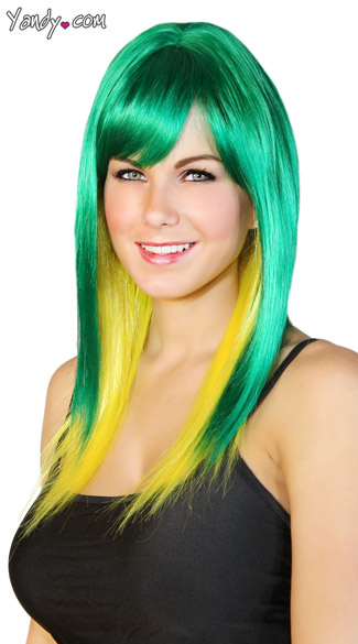 Emerald and Yellow Two Toned Wig