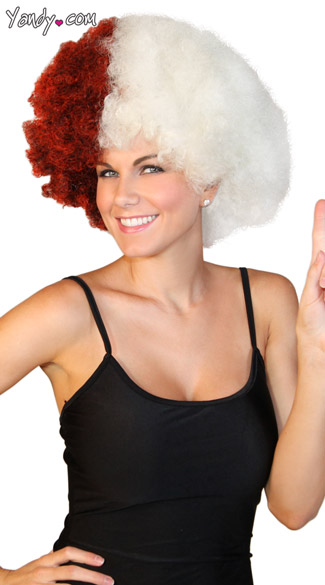 Crimson And White Two Tone Afro Wig