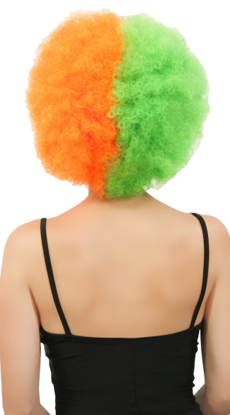 Green and Orange Two Tone Afro Wig