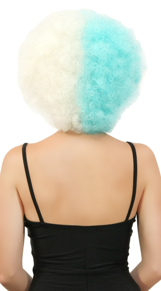 Blue and White Two Tone Afro Wig