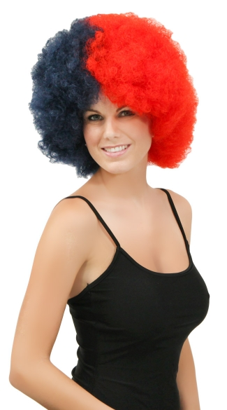 Navy Blue and Red Two Tone Afro Wig, Combo Color Afro Wig, Sports Team Afro Wig