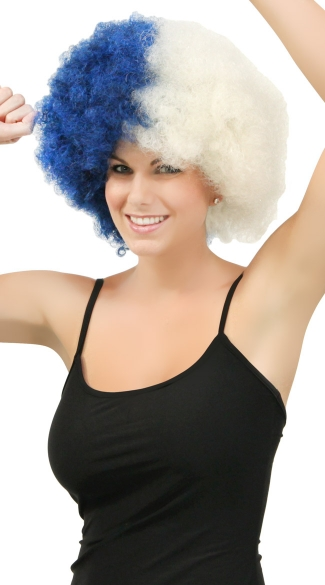Navy Blue and White Two Tone Afro Wig