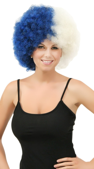Navy Blue and White Two Tone Afro Wig, Combo Color Afro Wig, Sports Team Afro Wig