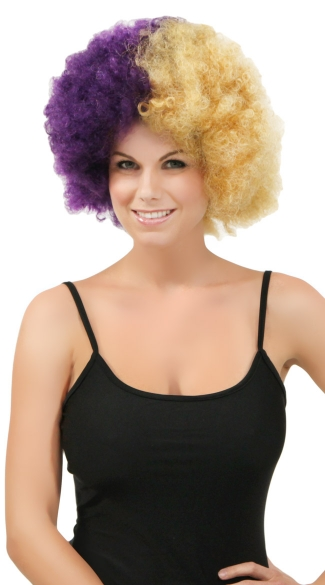 Purple and Gold Two Tone Afro Wig, Combo Color Afro Wig, Sports Team Afro Wig