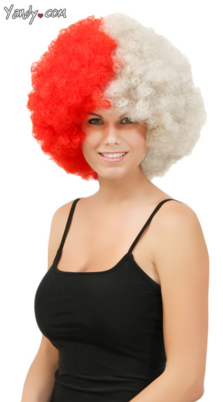 Red and Silver Two Tone Afro Wig, Combo Color Afro Wig, Sports Team Afro Wig