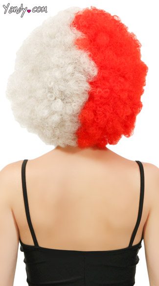 Red and Silver Two Tone Afro Wig