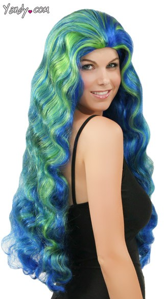 Wavy Blue and Green Wig
