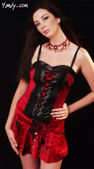 Spider Corset, Red Velvet Corset, Black and Red Vampire Top
