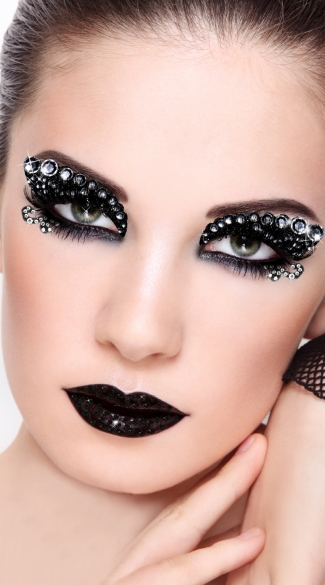 Midnight Eye Kit, Black Glitter Eye Stickers, Black Costume Eye Stickers