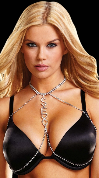 Sexy Rhinestone Open Bra, Black Chained Bra, Bra with Rhinestone Chain