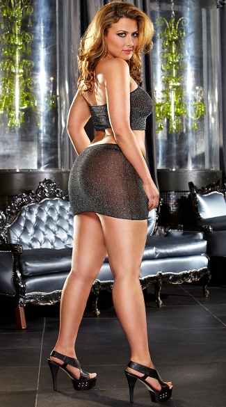 Plus Size Shimmer Mini Skirt and Cami Top Set