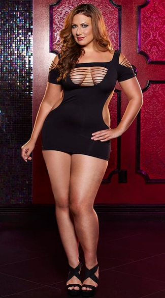 Plus Size Twerk It Mini Dress, Plus Size Cut Out Dress