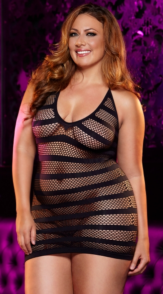Plus Size Hostess Mini Dress, Plus Size Seamless Net Dress