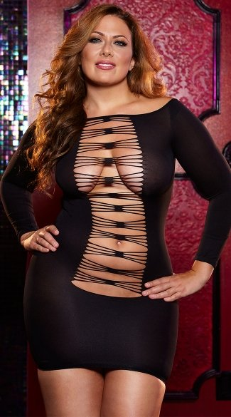 Plus Size Thru The Wire Mini Dress, Plus Size Black Net Dresses, Plus Size Party Dresses For Women