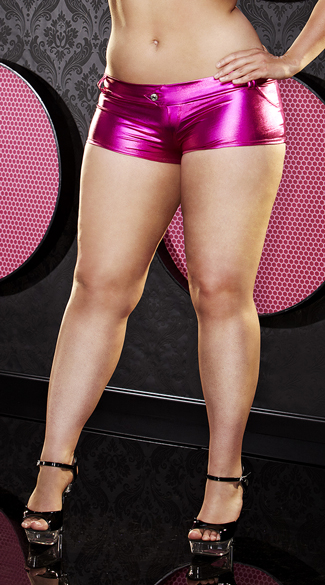 Plus Size Hot Pink Wet Look Booty Shorts