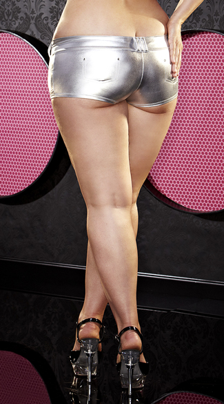 Plus Size Silver Wet Look Booty Shorts
