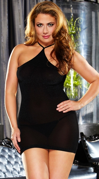 Plus Size Black VIP Mini Dress, Plus Size Little Black Dress, Plus Size Mini Dress
