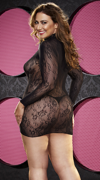 Plus Size Long Sleeve Fishnet and Lace Chemise