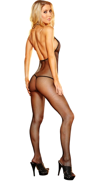Halter V-Neck Fishnet Bodystocking with Open Crotch