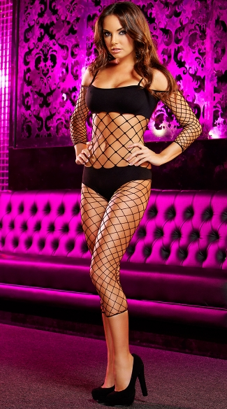 Opaque and Large Net Cropped Bodystocking, Sexy Fishnet Bodystocking, Fishnet Dancewear