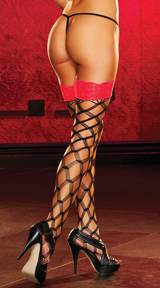 Lace Top Large Net Pattern Stockings