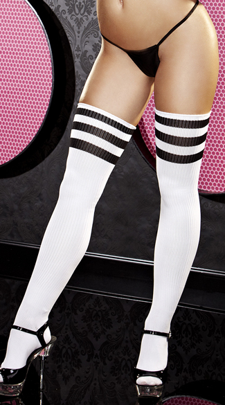 Black Striped Thigh High Socks, White and Black Thigh Highs, White and Black Socks