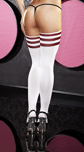 Red Striped Thigh High Sock